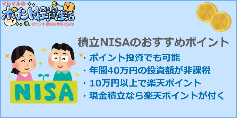 楽天証券ポイント投資 積立NISAはおすすめ