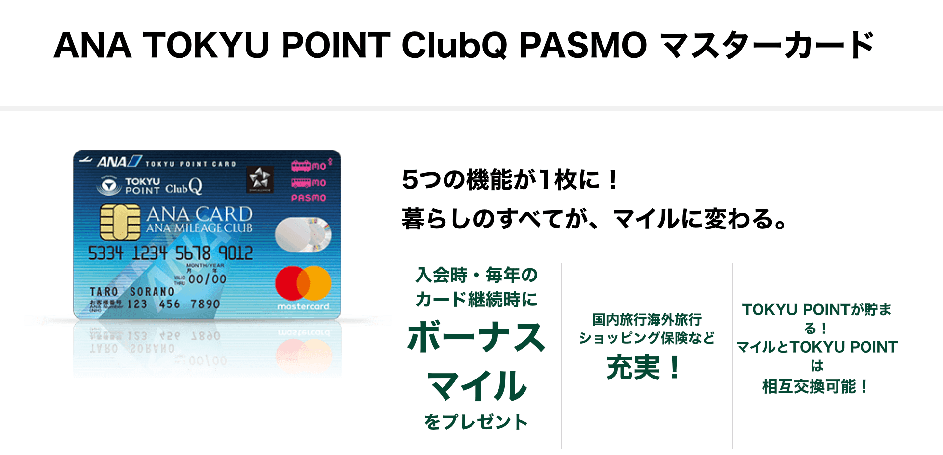 NA TOKYU POINT ClubQ PASMO マスターカード